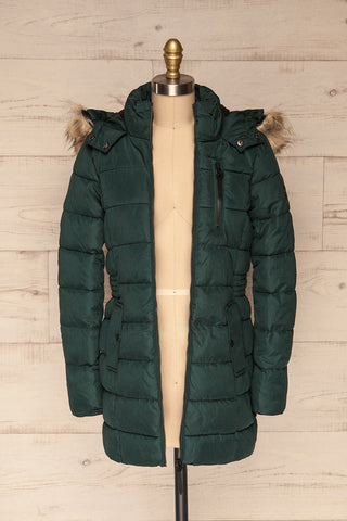 Dumfries Vert Green Parka Coat with Faux Fur Hood | La Petite Garçonne front view open