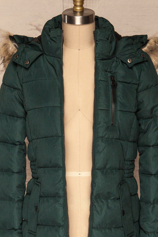 Dumfries Vert Green Parka Coat with Faux Fur Hood | La Petite Garçonne front close-up open