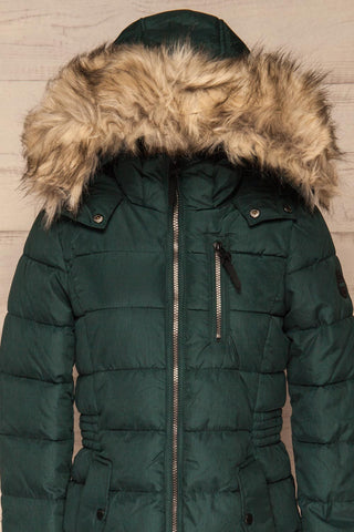 Dumfries Vert Green Parka Coat with Faux Fur Hood | La Petite Garçonne front close-up hood