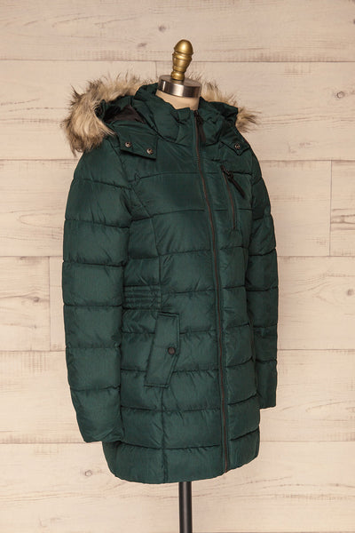 Dumfries Vert Green Parka Coat with Faux Fur Hood | La Petite Garçonne side view