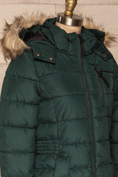 Dumfries Vert Green Parka Coat with Faux Fur Hood | La Petite Garçonne side close-up