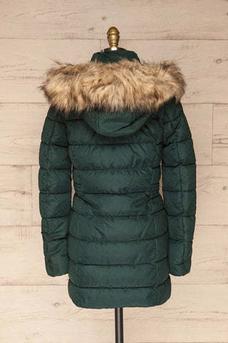 Dumfries Vert Green Parka Coat with Faux Fur Hood | La Petite Garçonne back view