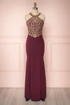 Dunia Bourgogne Burgundy Halter Mermaid Gown | Boutique 1861