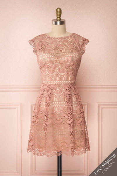 Dunyazade Pink Short Lace Dress w/ Open Back | Boudoir 1861 front view FS