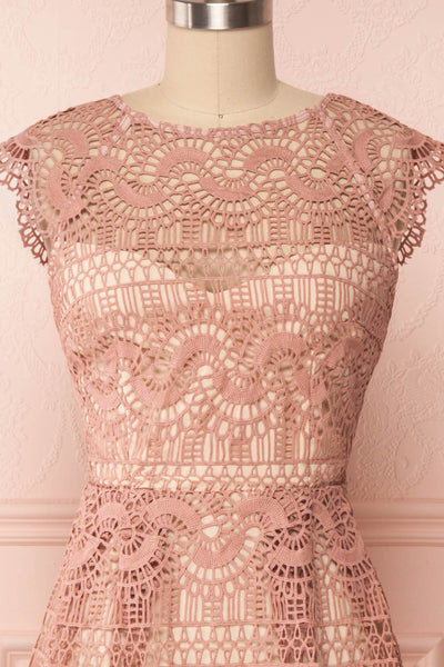 Dunyazade Pink Short Lace Dress w/ Open Back | Boudoir 1861 front close up