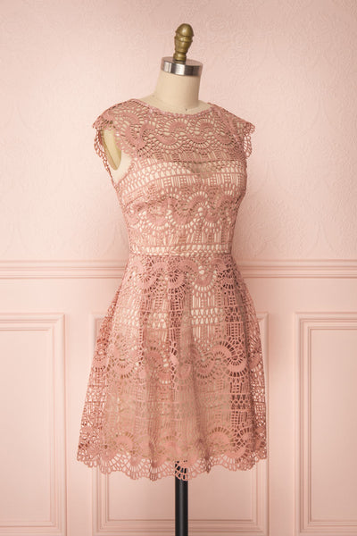 Dunyazade Pink Short Lace Dress w/ Open Back | Boudoir 1861 side view