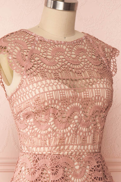 Dunyazade Pink Short Lace Dress w/ Open Back | Boudoir 1861 side close up
