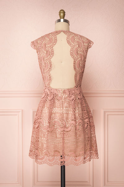 Dunyazade Pink Short Lace Dress w/ Open Back | Boudoir 1861 back view