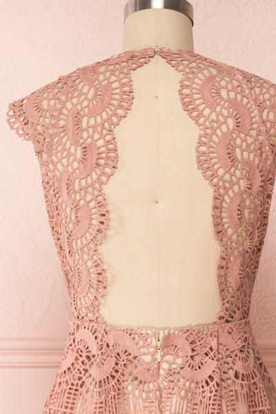 Dunyazade Pink Short Lace Dress w/ Open Back | Boudoir 1861 back close up