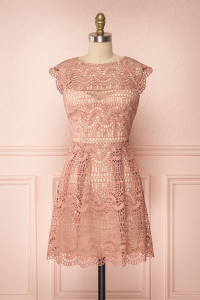Dunyazade Pink Short Lace Dress w/ Open Back | Boudoir 1861 fabric