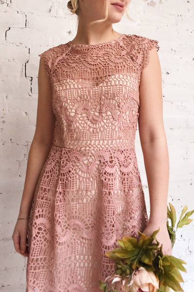 Dunyazade Pink Short Lace Dress w/ Open Back | Boudoir 1861 model close up