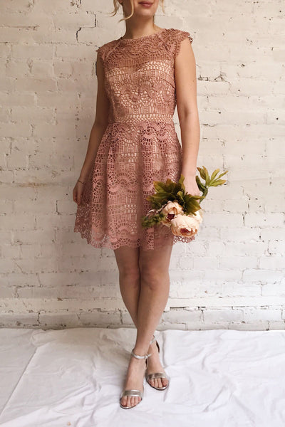 Dunyazade Pink Short Lace Dress w/ Open Back | Boudoir 1861 model look