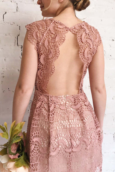 Dunyazade Pink Short Lace Dress w/ Open Back | Boudoir 1861 model back 1