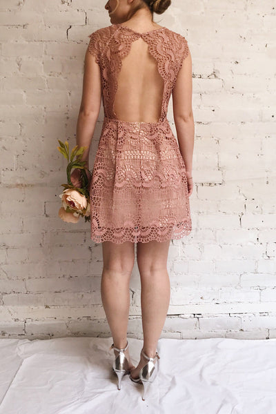 Dunyazade Pink Short Lace Dress w/ Open Back | Boudoir 1861 on model