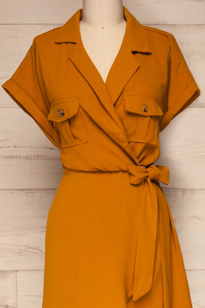 Durnstein Mustard Yellow Wrap-Style Romper | La Petite Garçonne front close-up