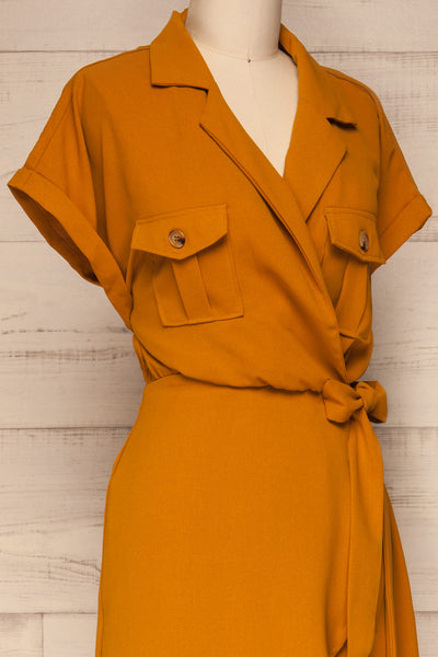 Durnstein Mustard Yellow Wrap-Style Romper | La Petite Garçonne side close-up