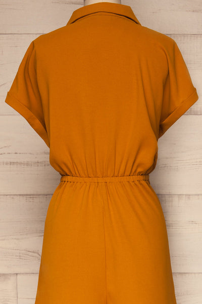 Durnstein Mustard Yellow Wrap-Style Romper | La Petite Garçonne back close-up