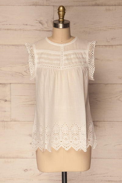 Dynow Snow White Openwork Cotton Sleeveless Top | La Petite Garçonne 1