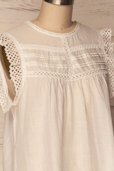 Dynow Snow White Openwork Cotton Sleeveless Top | La Petite Garçonne 4