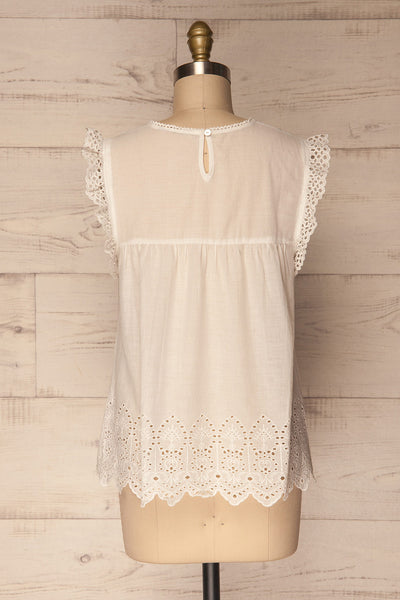 Dynow Snow White Openwork Cotton Sleeveless Top | La Petite Garçonne 5