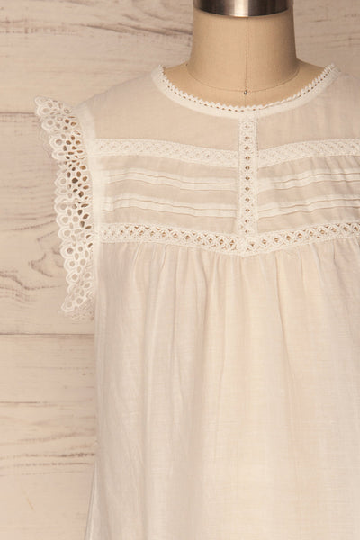 Dynow Snow White Openwork Cotton Sleeveless Top | La Petite Garçonne 2
