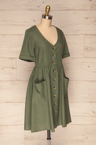 Ebbesvik Moss Khaki Button-Up A-Line Dress | La Petite Garçonne