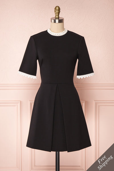Echizen Black A-Line Cocktail Dress with Lace Trim | Boutique 1861
