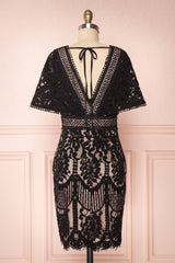 Edelaria Coal Black Lace Fitted Cocktail Dress | Boutique 1861