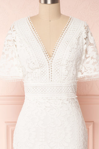 Edelaria Snow White Lace Fitted Cocktail Dress | Boutique 1861