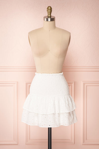 Edithe White Lace Layered Mini Skirt | FRONT VIEW | Boutique 1861