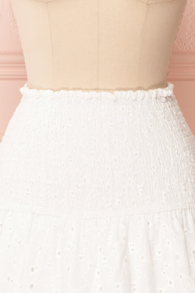 Edithe White Lace Layered Mini Skirt | FRONT CLOSE UP | Boutique 1861