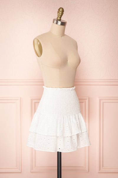 Edithe White Lace Layered Mini Skirt | SIDE VIEW | Boutique 1861