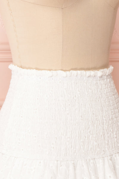 Edithe White Lace Layered Mini Skirt | SIDE CLOSE UP | Boutique 1861