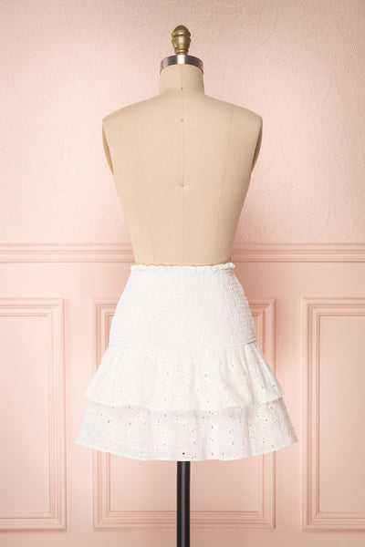 Edithe White Lace Layered Mini Skirt  BACK VIEW | Boutique 1861