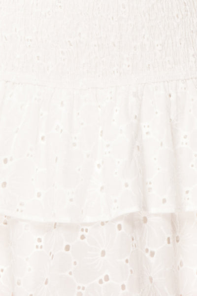 Edithe White Lace Layered Mini Skirt | TEXTURE DETAIL | Boutique 1861