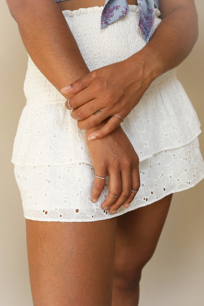 Edithe | White Lace Skirt