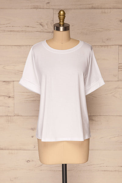 Eftang White Rolled Sleeves T-Shirt | La petite garçonne front view