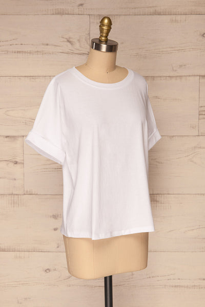 Eftang White Rolled Sleeves T-Shirt | La petite garçonne side view