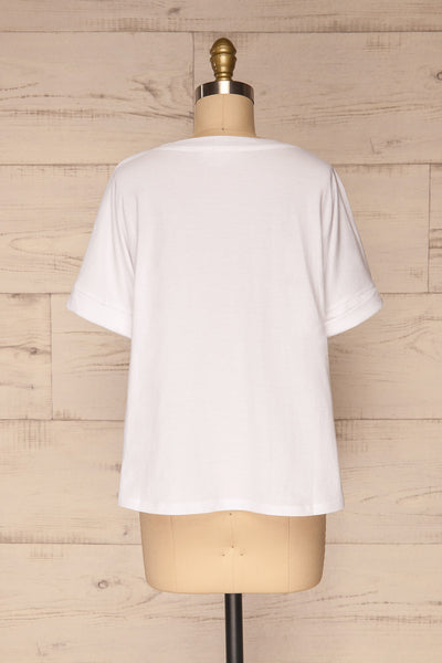 Eftang White Rolled Sleeves T-Shirt | La petite garçonne back view