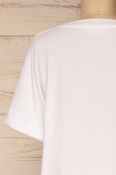 Eftang White Rolled Sleeves T-Shirt | La petite garçonne back close-up