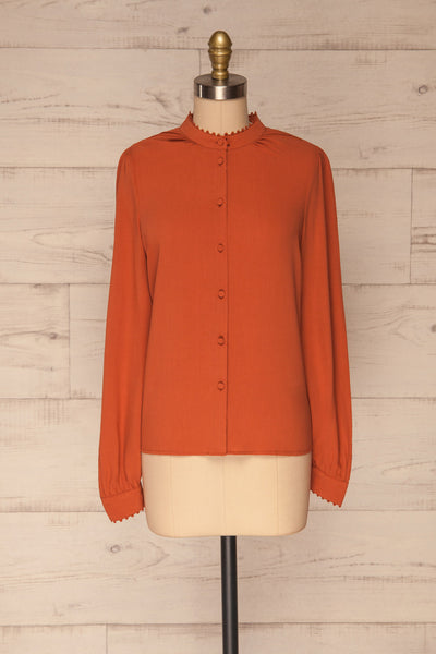 Egaleo Rust Orange Button-Up Blouse | La petite garçonne front view