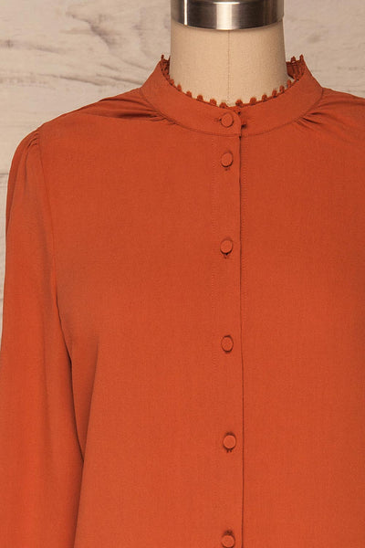 Egaleo Rust Orange Button-Up Blouse | La petite garçonne front close up