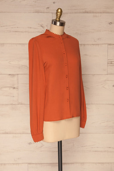 Egaleo Rust Orange Button-Up Blouse | La petite garçonne side view