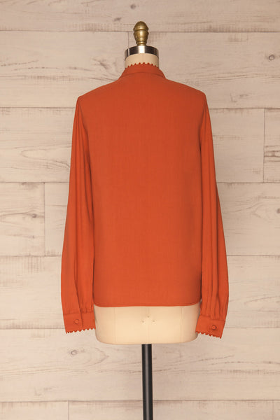 Egaleo Rust Orange Button-Up Blouse | La petite garçonne back view