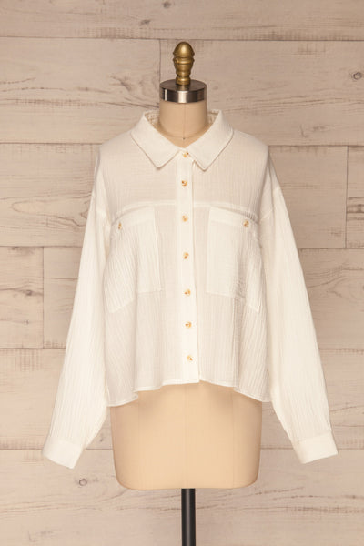 Eggesvik White Textured Button-Up Shirt | La petite garçonne  front view