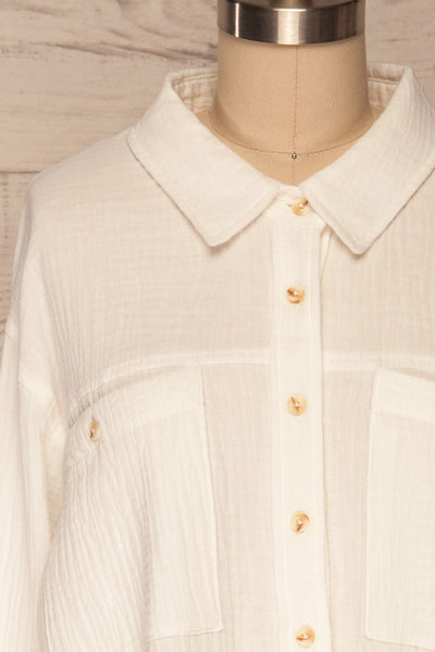 Eggesvik White Textured Button-Up Shirt | La petite garçonne  frotn close up