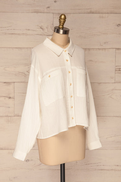 Eggesvik White Textured Button-Up Shirt | La petite garçonne  side view