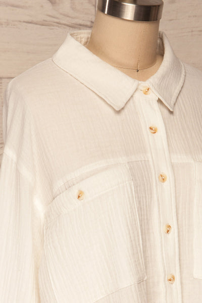 Eggesvik White Textured Button-Up Shirt | La petite garçonne  side close up
