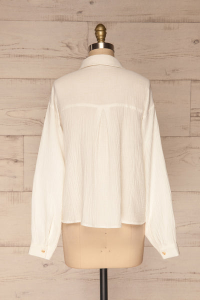 Eggesvik White Textured Button-Up Shirt | La petite garçonne  back view