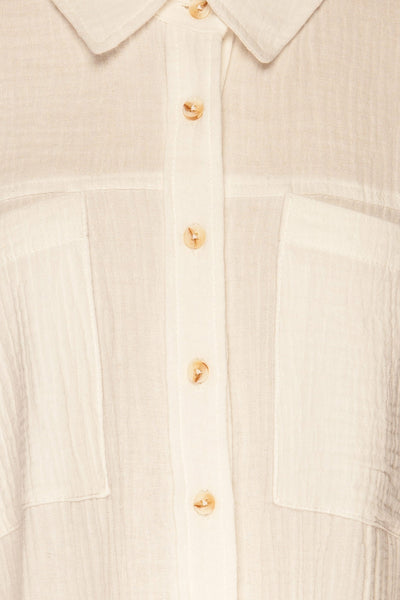 Eggesvik White Textured Button-Up Shirt | La petite garçonne  fabric